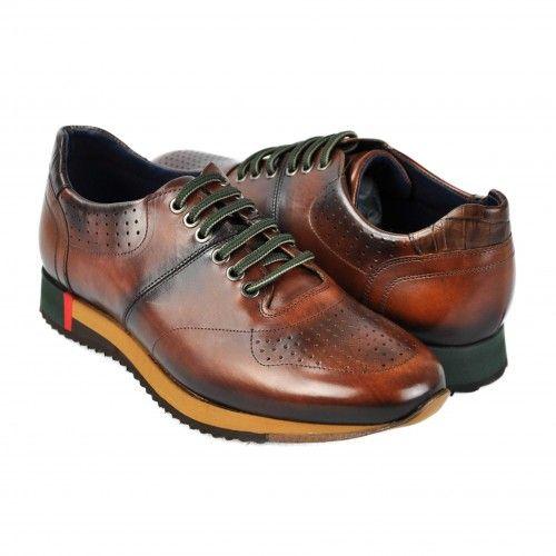 Chaussures de sport en cuir marron à lacets verts Zerimar - 1