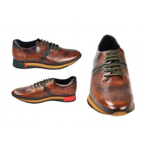 Chaussures de sport en cuir marron à lacets verts Zerimar - 2