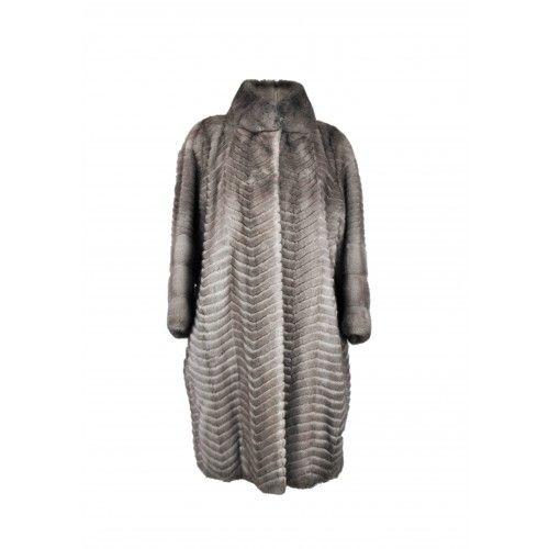 Manteau long en vison à...