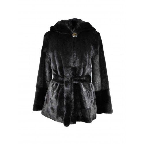 Veste en vison noir avec ceinture et capuche Zerimar - 1
