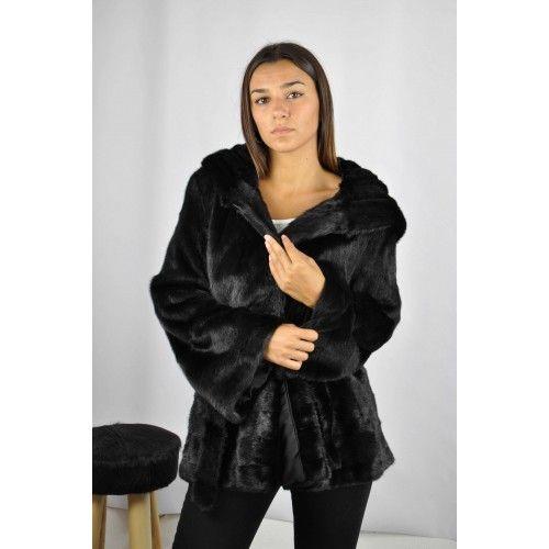 Veste noire avec capuche et ceinture en vison Zerimar - 2
