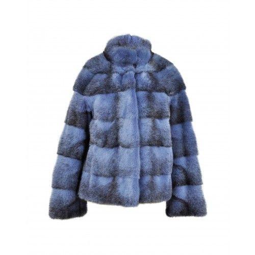 Veste courte en vison bleu Zerimar - 2