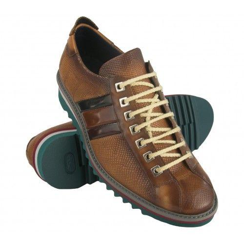 Chaussure sneakers en cuir avec lacets et drapeau Zerimar - 1
