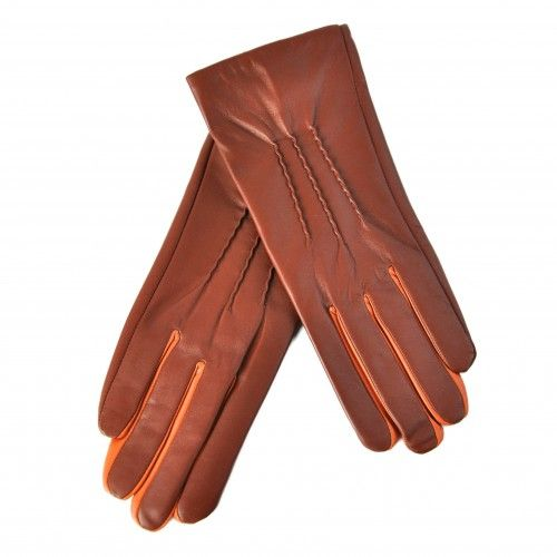 Gants en cuir marron avec...