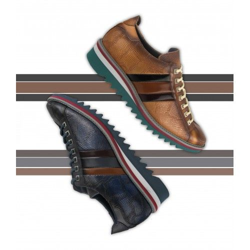 Chaussure sneakers en cuir avec lacets et drapeau Zerimar - 2