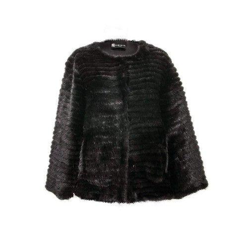 Manteau en vison pour femme couleur noir Zerimar - 1