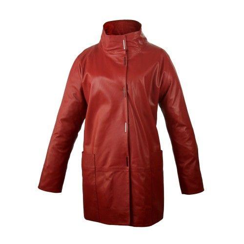 Manteau long en cuir avec poches, col classique et fermeture à bouton Zerimar - 2