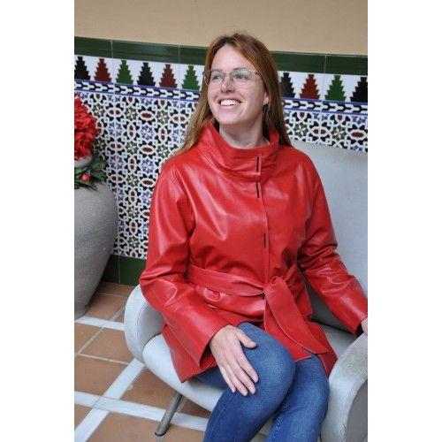 Manteau long en cuir avec poches, col classique et fermeture à bouton Zerimar - 1