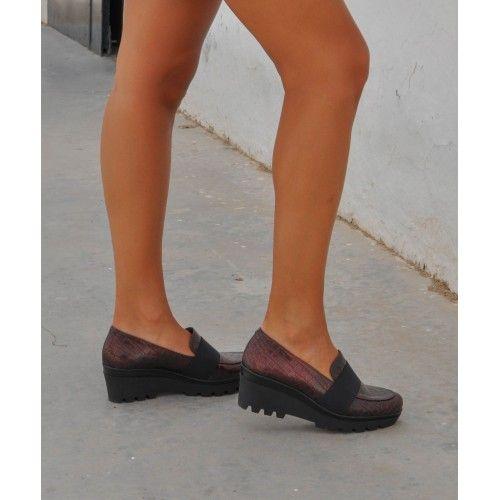 Chaussures avec talonnette en cuir avec fermeture élastique Zerimar - 1
