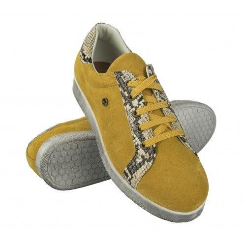 Sneakers en cuir coloré avec imprimé python Zerimar - 1