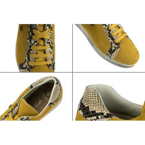 Sneakers en cuir coloré avec imprimé python Zerimar - 2