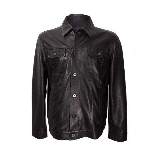 Veste en cuir pour homme avec fermeture boutonnée sur le devant Zerimar - 1
