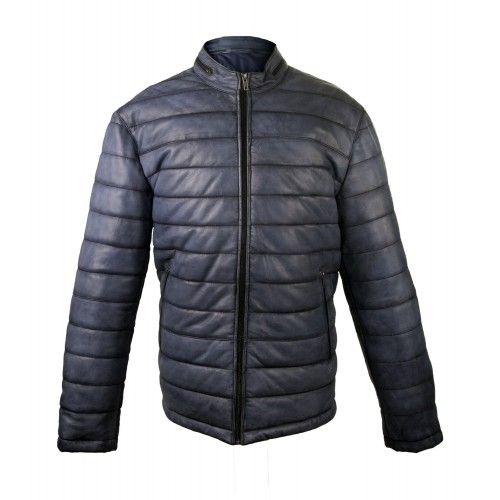 Veste en cuir rembourrée avec col mao et fermetures éclair Zerimar - 2