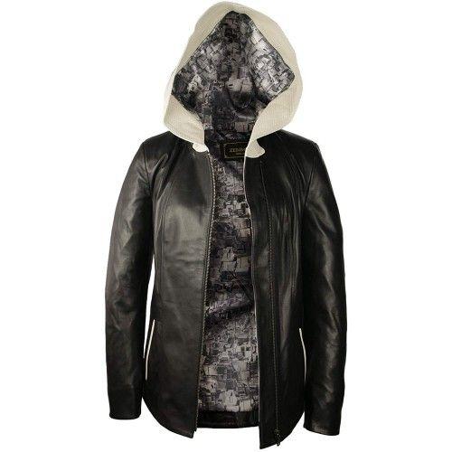 Veste en cuir avec capuche,...