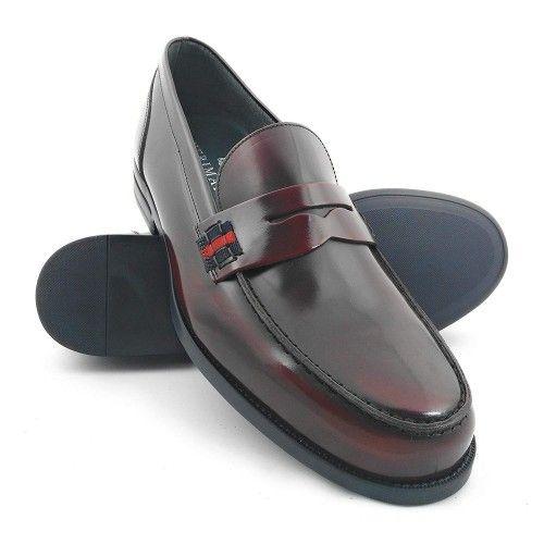 Chaussures castillans pour hommes couleurs bleu marine-cuir-bordeaux Zerimar - 7