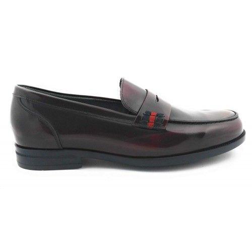 Chaussures castillans pour hommes couleurs bleu marine-cuir-bordeaux Zerimar - 8