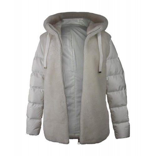 Manteau mouton blanc avec capuche Zerimar - 1