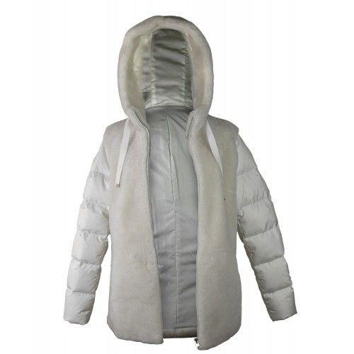 Manteau mouton blanc avec capuche Zerimar - 2