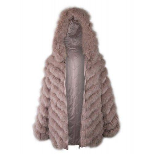 Manteau en renard réversible avec capuche et fermeture zippée Zerimar - 1