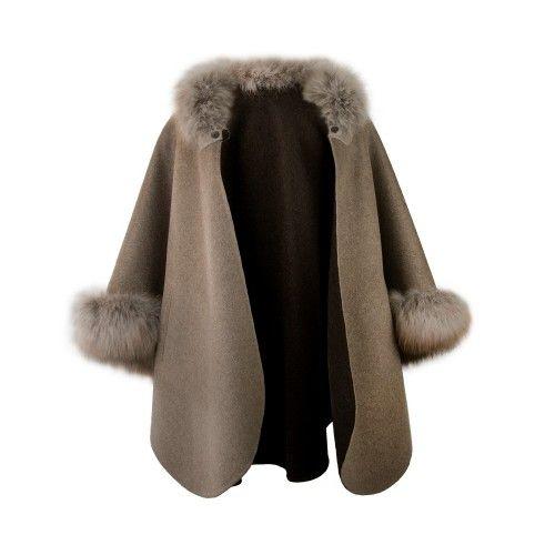 Manteau à col renard marron-beige Zerimar - 2