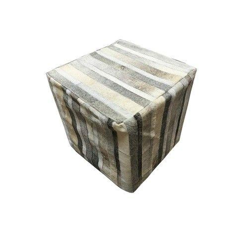 Tabouret pouf avec de la peau de vache naturelle 45x45x45 cm Zerimar - 1