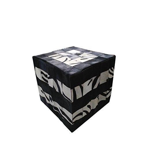 Tabouret pouf recouvert en peau de vache 45x45 cm Zerimar - 1