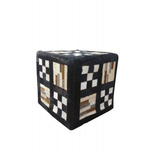 Tabouret pouf recouvert en peau de vache dimensions 45x45x45 cm Zerimar - 1