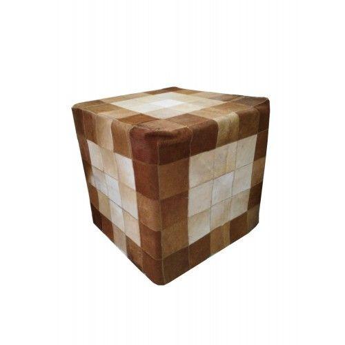 Tabouret en bois de teck recouvert en peau de vache 45x45x45 cm Zerimar - 1
