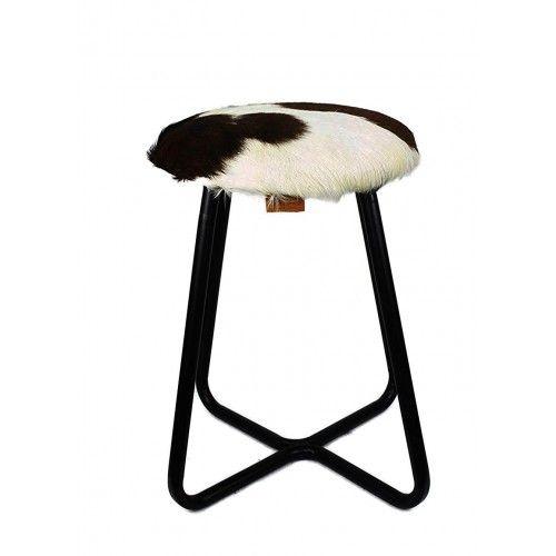 Tabouret recouvert en peau de chèvre et pieds en métal 30x30x45 cm Zerimar - 1