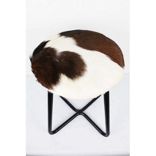Tabouret recouvert en peau de chèvre et pieds en métal 30x30x45 cm Zerimar - 2