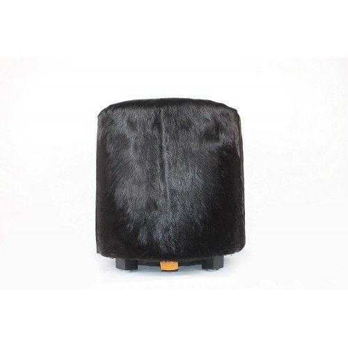 Tabouret en bois de teck et peau de chèvre 40x40x45cm Zerimar - 1