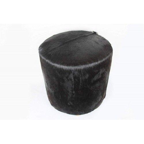 Tabouret en bois de teck et peau de chèvre 40x40x45cm Zerimar - 2