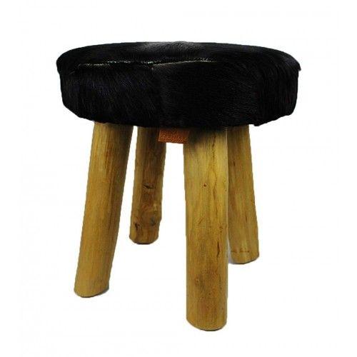 Tabouret bas en bois teck recouvert en peau de chèvre naturelle Zerimar - 1