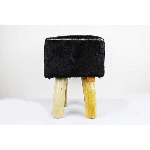Tabouret bois teck recouvert de peau de chèvre 30x30x45 cm Zerimar - 1