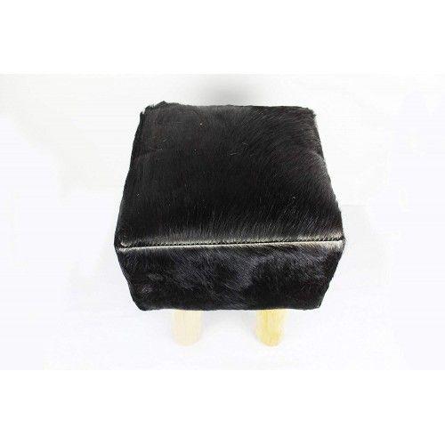 Tabouret bois teck recouvert de peau de chèvre 30x30x45 cm Zerimar - 2