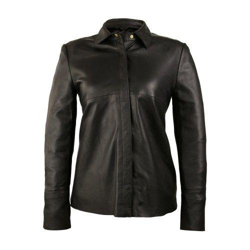 Veste en cuir noir avec...