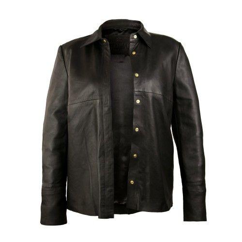 Veste en cuir noir avec fermeture à clip Zerimar - 2