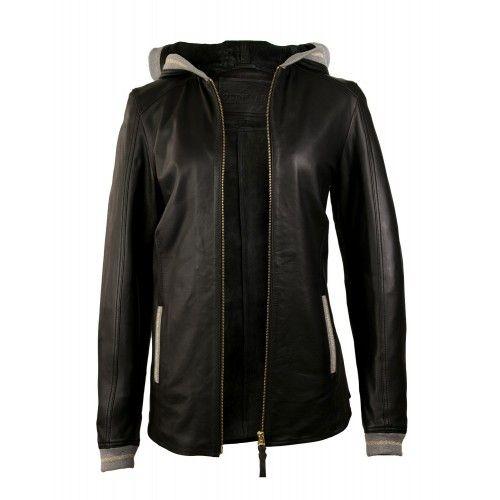 Veste en cuir avec capuche et détail gris-or Zerimar - 1