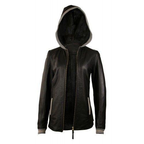 Veste en cuir avec capuche et détail gris-or Zerimar - 2