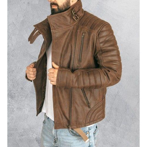 Veste aviateur en cuir avec bras rembourrés Zerimar - 1