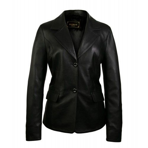 Blazer en cuir pour femme boutonné style élégant Zerimar - 1