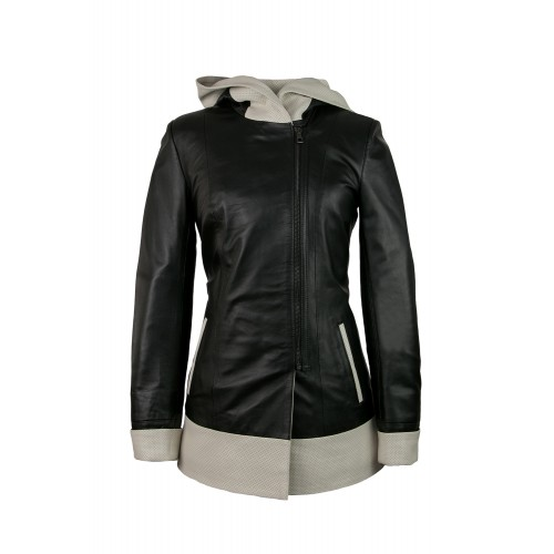 Veste en cuir avec capuche perforée bicolore et fermeture zippée Zerimar - 1