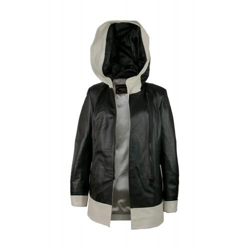 Veste en cuir avec capuche perforée bicolore et fermeture zippée Zerimar - 2