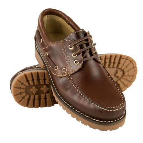Chaussures bateau à lacets en cuir naturel Zerimar - 1