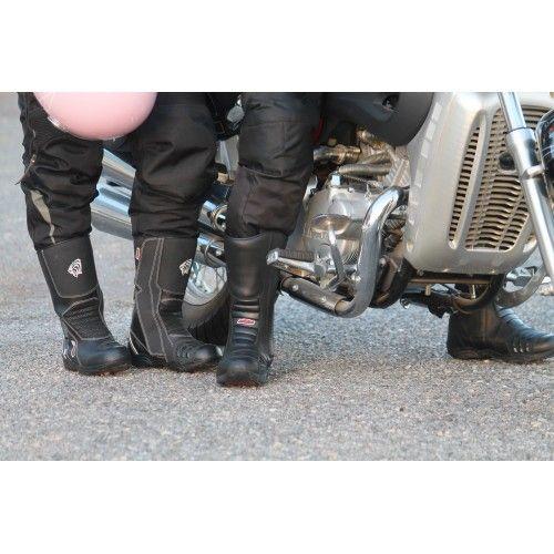 Bottes de moto en cuir avec...