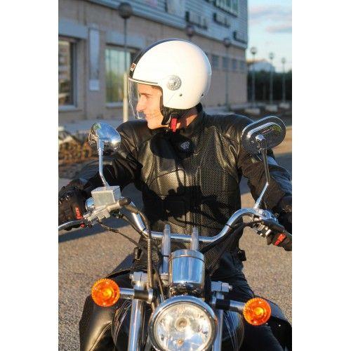 Veste moto en cuir avec des...