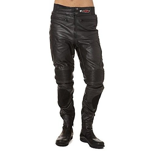 Pantalon moto en cuir avec...