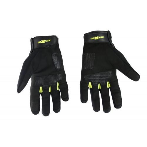 Gants de moto en cuir avec protections et lignes fluorées Kenrod - 2