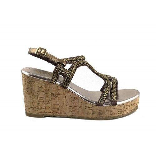 Sandales en cuir compensées