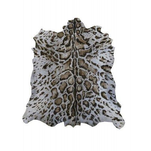 Tapis en peau de chèvre naturelle imprimé ocelot 100x80 cm Zerimar - 1